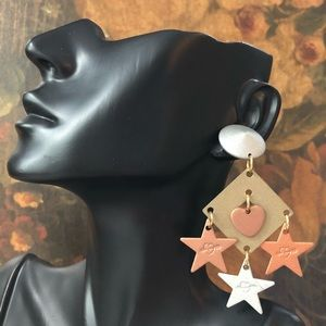 🌵 Vintage Hearts and Stars Mixed Metal Earrings